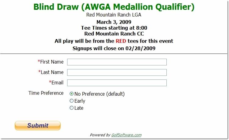 Sample Red Mountain Online Registration Form